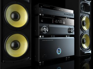 42089873 - hi-fi stereo system musical player, power receiver, yellow speakers, multimedia center